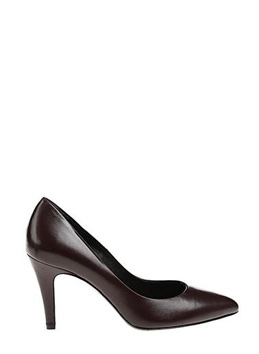 Divarese İnce Kısa Topuklu Deri Ayakkabı Bordo